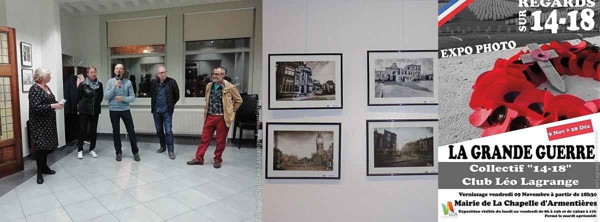 """Notre collectif 14-18 a exposé """"Regards sur 14-18"""" à la Chapelle d'Armentières 8 séries photographiques"""